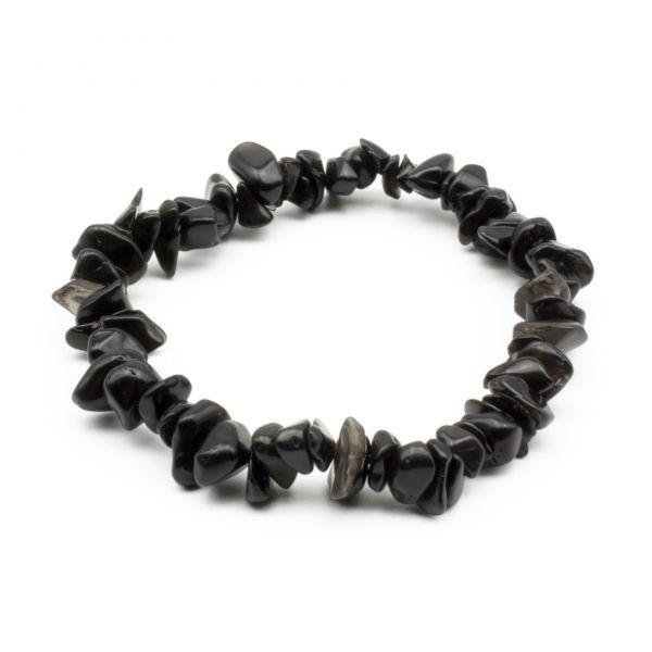 "Schwarzer Obsidian Splitterarmband ""Strength"""